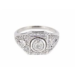 Platinum 0.88ctw Diamond Ring