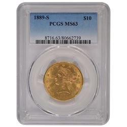 1889-S $10 Liberty Head Eagle Gold Coin PCGS MS63