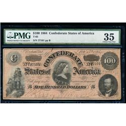 1864 $100 Confederate Sates of America Note PMG 35