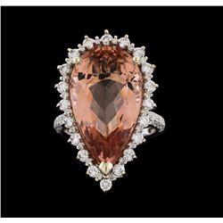 14KT White Gold 14.09ct Morganite and Diamond Ring