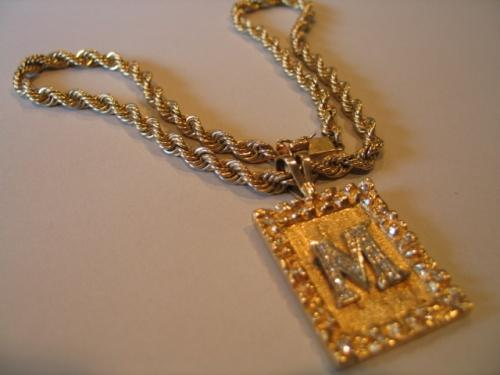 Image 1 GOLD CHAIN W LETTER M DIAMONDS