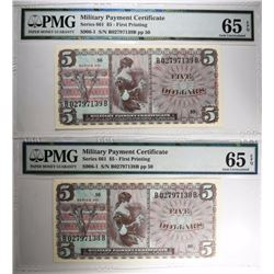 2 $5 CONSECUTIVE MILITARY PAYMENT CERT. PMG 65 EPQ