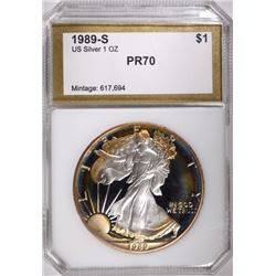 1989-S AMERICAN SILVER EAGLE PCI PERFECT GEM PROOF