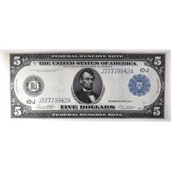 1914 $5 FEDERAL RESERVE NOTE KANSAS CITY