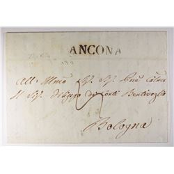 1844 LETTER w/ANCONA & BOLOGNA HAND STAMP