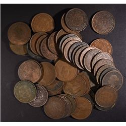 50 CANADIAN LARGE CENTS, VARIOUS DATES