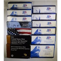 U.S. QTR PROOF SETS; 1999, 2000, 2001,