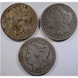 3 - MORGAN DOLLARS; 1883 VF, 2-1903 AU & VG