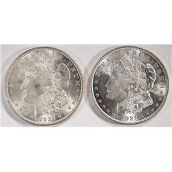 (2) 1921 MORGAN SILVER DOLLARS