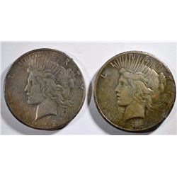 1927 & 1927-S PEACE SILVER DOLLARS, VF/XF