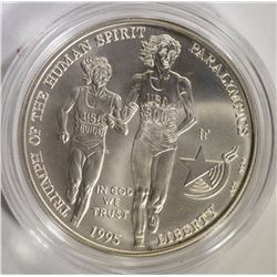 1995 BLIND RUNNER COMMEM SILVER DOLLAR, GEM BU