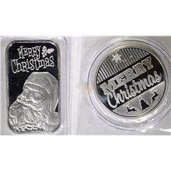 MERRY CHRISTMAS ONE OUNCE .999 SILVER ROUND & BAR
