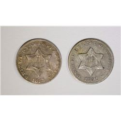 1852 & 53 3 CENT SILVERS F-VF