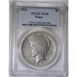 1921 PEACE DOLLAR PCGS VF-35