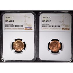 2 NGC LINCOLN CENTS 1930 MS-65 RD &