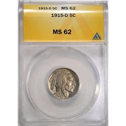 1915-D BUFFALO NICKEL ANACS MS-62