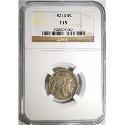 1921-S BUFFALO NICKEL NGC F-15