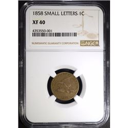 1858 SMALL LETTERS FLYING EAGLE CENT NGC XF-40
