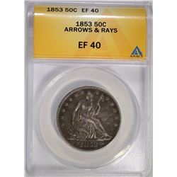 1853 ARROWS AND RAYS SEATED HALF ANACS EF-40