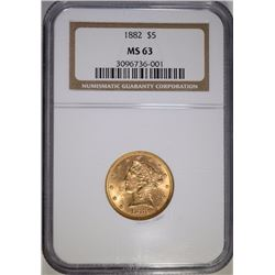 1882 $5 GOLD LIBERTY NGC MS-63