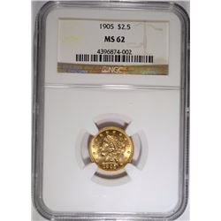 1905 $2.5 GOLD LIBERTY NGC MS-62