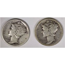 2 1921-D MERCURY DIME  SOLID VG KEYS