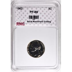 1962 JEFFERSON NICKEL RNG SUPERB GEM PLUS PROOF