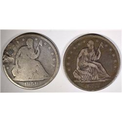 2 SEATED LIBERTY HALF DOLLARS: 1857 VF-XF,