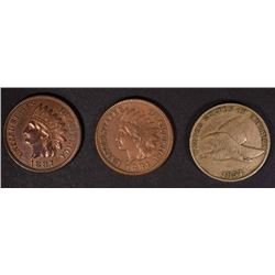 LOT OF 3: 1857 FLYING EAGLE CENT VF,