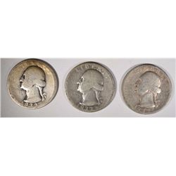 3 1932-D WASHINGTON QUARTERS  CIRCS