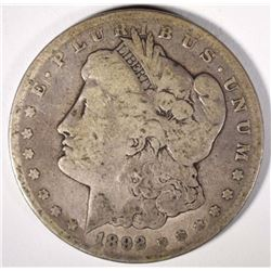 1892-CC MORGAN SILVER DOLLAR VG