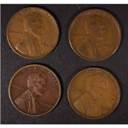4 1922-D LINCOLN CENTS  NICE VG-F-VF