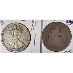 2 HALF DOLLARS: 1877-CC CIRC SEATED LIBERTY &