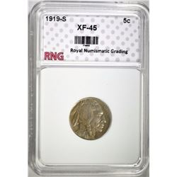 1919-S BUFFALO NICKEL RNG EF/AU
