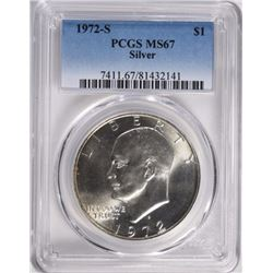 1972-S EISENHOWER SILVER DOLLAR PCGS MS67