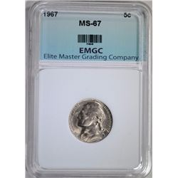 1967 JEFFERSON NICKEL EMGC SUPERB GEM BU