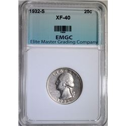 1932-S WASHINGTON QUARTER EMGC XF