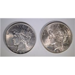 1922 & 1923 PEACE DOLLARS - CHOICE BU