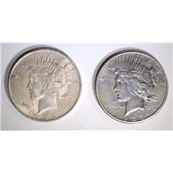 1923-S & 1923 PEACE DOLLARS - CHOICE BU