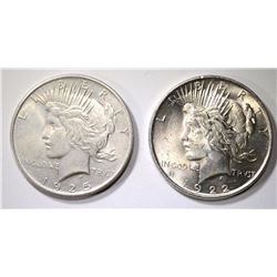 1922 & 1925 PEACE DOLLARS - CHOICE BU