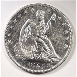 1855-O SEATED HALF DOLLAR AU/UNC