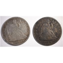 1876-S SEATED HALF & 1873 ARROWS SEATED HALF