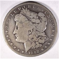 1892-S MORGAN DOLLAR, VG+ KEY DATE