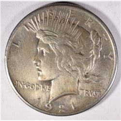 1921 PEACE SILVER DOLLAR, AU mark on reverse