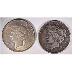 1926-D AU & 1926-S F/VF PEACE DOLLARS