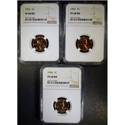 1962, 1963 & 1964 LINCOLN CENTS NGC PF 68 RD