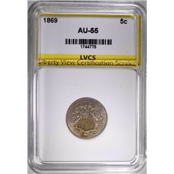 1869 SHIELD NICKEL, LVCS AU/BU