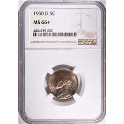 1950-D JEFFERSON NICKEL, NGC MS-66+