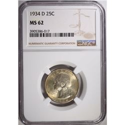 1934-D WASHINGTON QUARTER NGC MS 62
