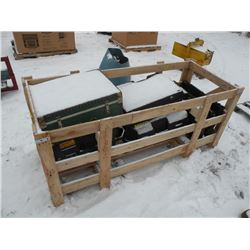 Crate of misc plastic tool boxes